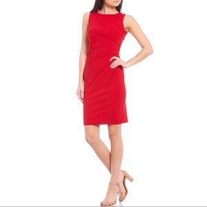 Calvin Klein Ruched Crepe Sleeveless Sheath Dress